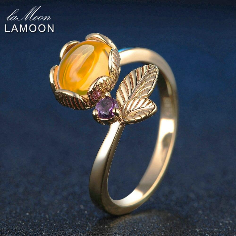 LAMOON Amber Rings Flower Plants 7mm 2ct Natural Oval Citrine 925 - Fine smykker