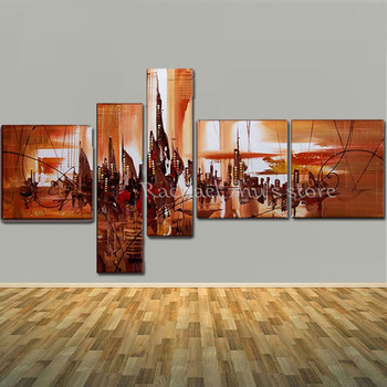 Large Hand Painted Abstract Cityscape Landscape 5 Panles Oil Paintings On Canvas Wall Art Picturers For Living Room Home Decor
