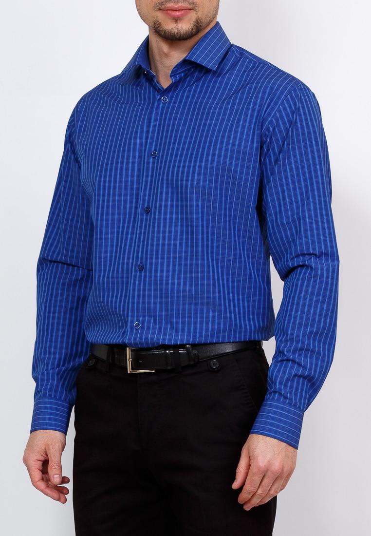 Shirt men's long sleeve GREG 225/139/056/Z/1 Blue 3d bird and flower printed plain fly shirt collar long sleeves shirt for men