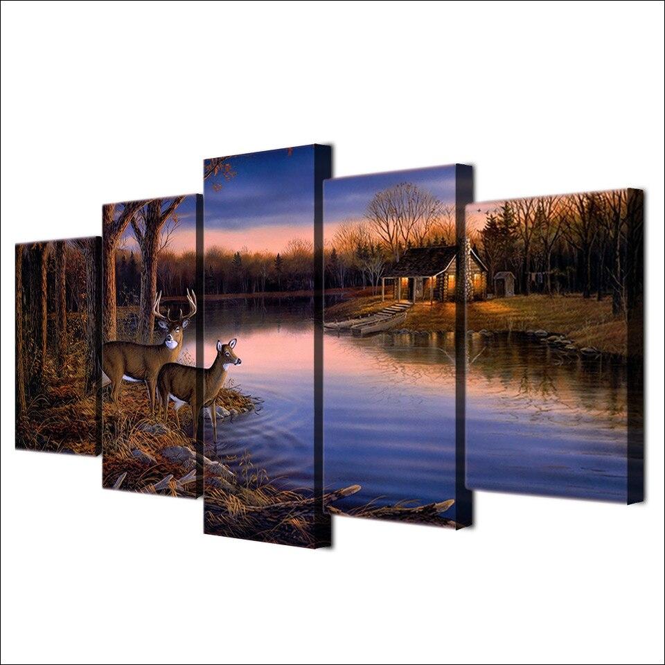 5 Teile/satz Gerahmte HD Gedruckt Sonnenuntergang Deer See ...