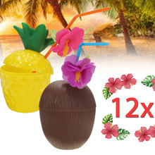 6Pcs/12Pcs Plastic Hawaiian Beach Party Coconut Pineapple Drink Cup & Straw Decoration Drinking Straw for Party Birthday