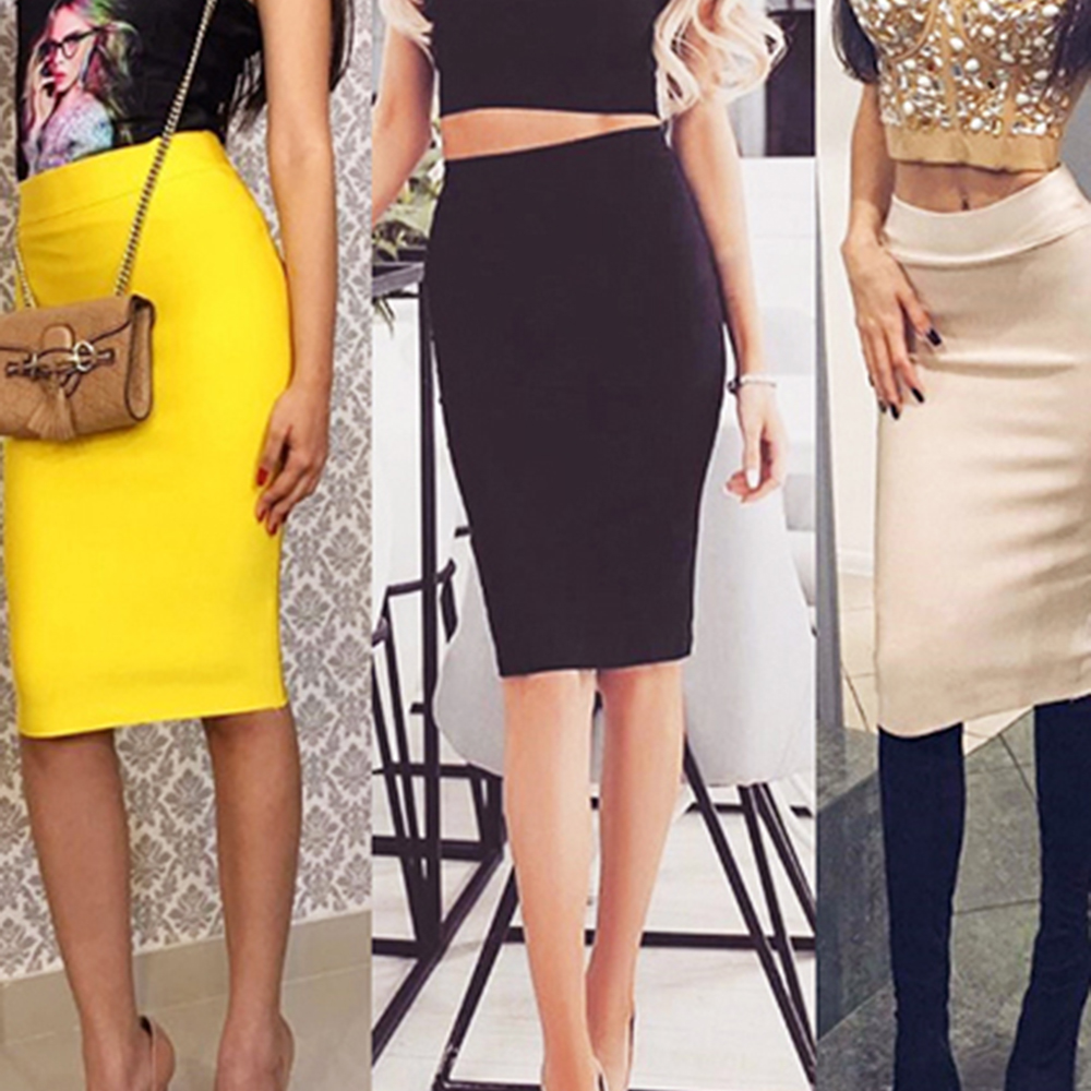 Nayssi 2019 Women New Knee Length Midi Pencil Office High Waist Bandage Skirt image