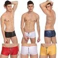 Imitación de Cuero de Imitación de la Cremallera ropa Interior Hombre Boxer Shorts Trunks Sexo Calzoncillos Para Hombre bulge enhancing Pouch