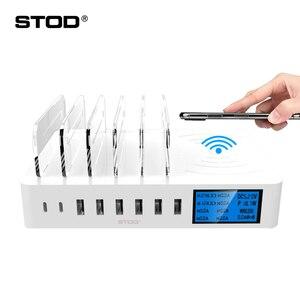 Image 1 - STOD bezprzewodowa ładowarka qi wyświetlacz LED stacja ładowania USB typ C telefon stojak na iphonea XR Samsung Huawei Mate 20 Pro Mi Adapter