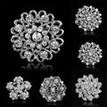 10 estilos Broches para o casamento Bijoux Vintage Broches para as mulheres strass broche Crystal Clear flores prata Broches pinos