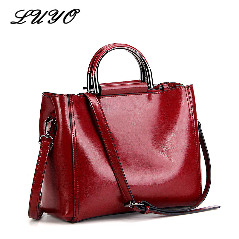 2018 Vintage Wax Oil Women Luxury Genuine Leather Ladies Handbags Casual Shoulder Big Bag Handbag Pochette Bags For Female Large chispaulo brand women handbag high quality oil wax leather ladies shoulder bags vintage female bags