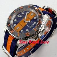 Bliger 40mm blau orange zifferblatt saphire glas datum lupe Keramik Lünette nylonband Automatische bewegung herrenuhr BL124-in Mechanische Uhren aus Uhren bei