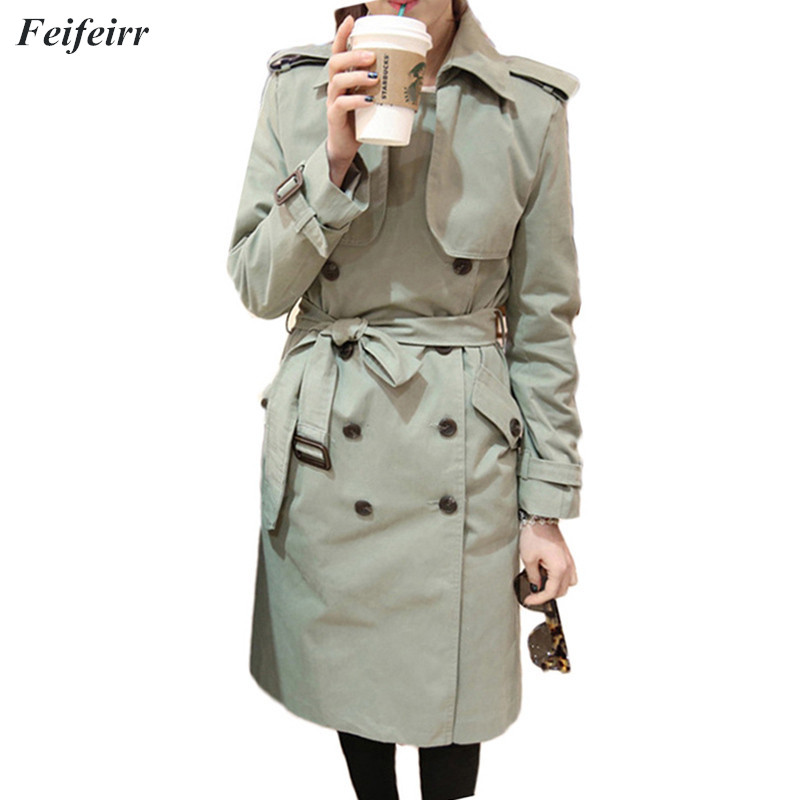 2018 Spring Autumn Women new Korean loose casual long section   Trench   Coat Fashion Slim Double Breasted Casual Overcoat