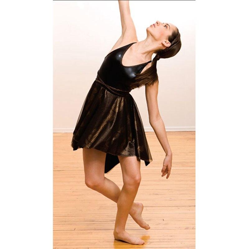 Robe de ballet extensible hermoso performance chemise de nuit de ballet noir, robe de ballet lyrique Costume de danse lueur patinage sur glace