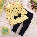3 cores VERMELHO verde amarelo 2016 Crianças Baby Girl Heart-shaped Conjunto Outono Arco 2 PCS Roupas Definir Terno Top Camisola Calças