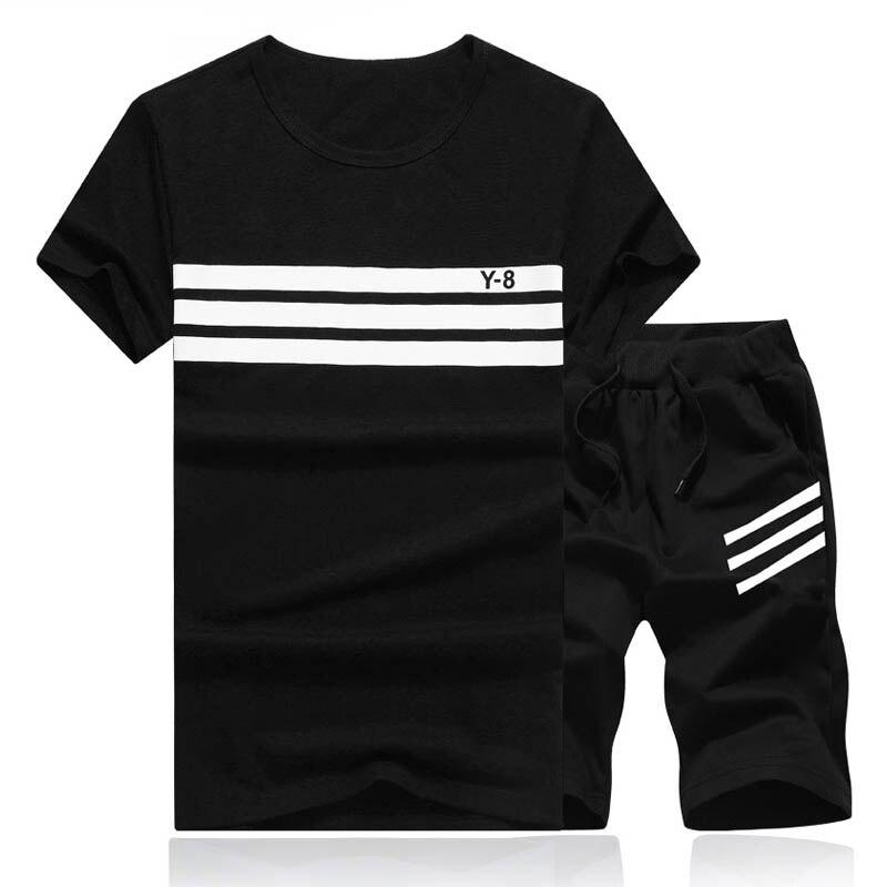2018 летний комплект Для мужчин повседневные пляжные Костюмы короткий рукав Шорты для женщин 2 шт. костюм + Брюки для девочек мода костюм Для мужчин S Спорт Костюмы футболка + Шорты для женщин