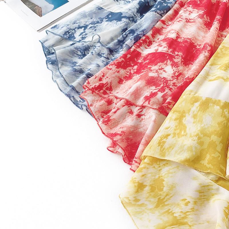 AcFirst Summer Yellow Women Skirt Women High Waist Long Skirt Mid Calf Skirt Casual Printed Chiffon Sexy Asymmetrical Skirts in Skirts from Women 39 s Clothing