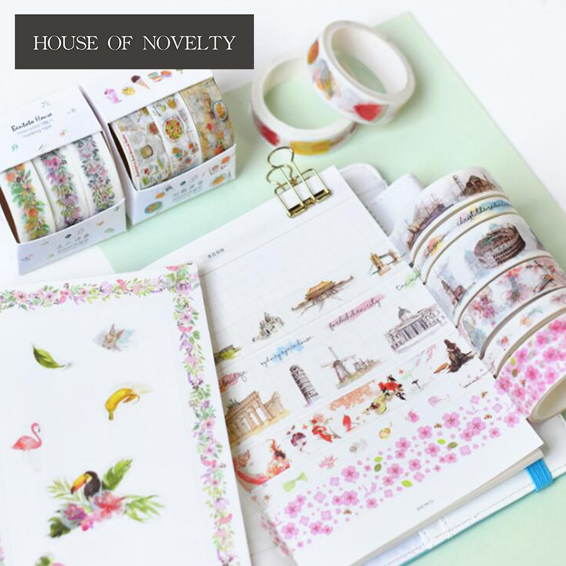 3 pcs/pack Japanese Style Washi Tape Adhesive Tape DIY Scrapbooking Sticker Label Masking Tape 1roll 35mmx7m high quality rabbit home pattern japanese washi decorative adhesive tape diy masking paper tape label sticker gift page 2