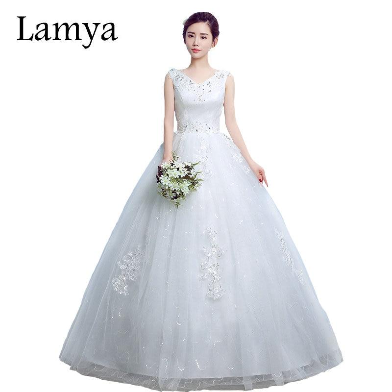 LAMYA Princess Elegant V-neck Wedding Dresses 2018 Ball Gown Lace Up Back Bridal Gowns Vestido de noiva