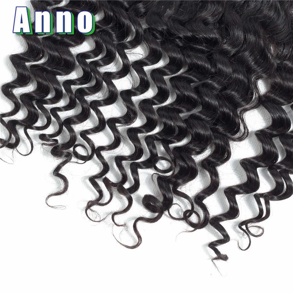 Annowig 13*4 бразильский глубокая волна синтетический Frontal шнурка волос человеческие волосы синтетическое закрытие волос средний/Бесплатн