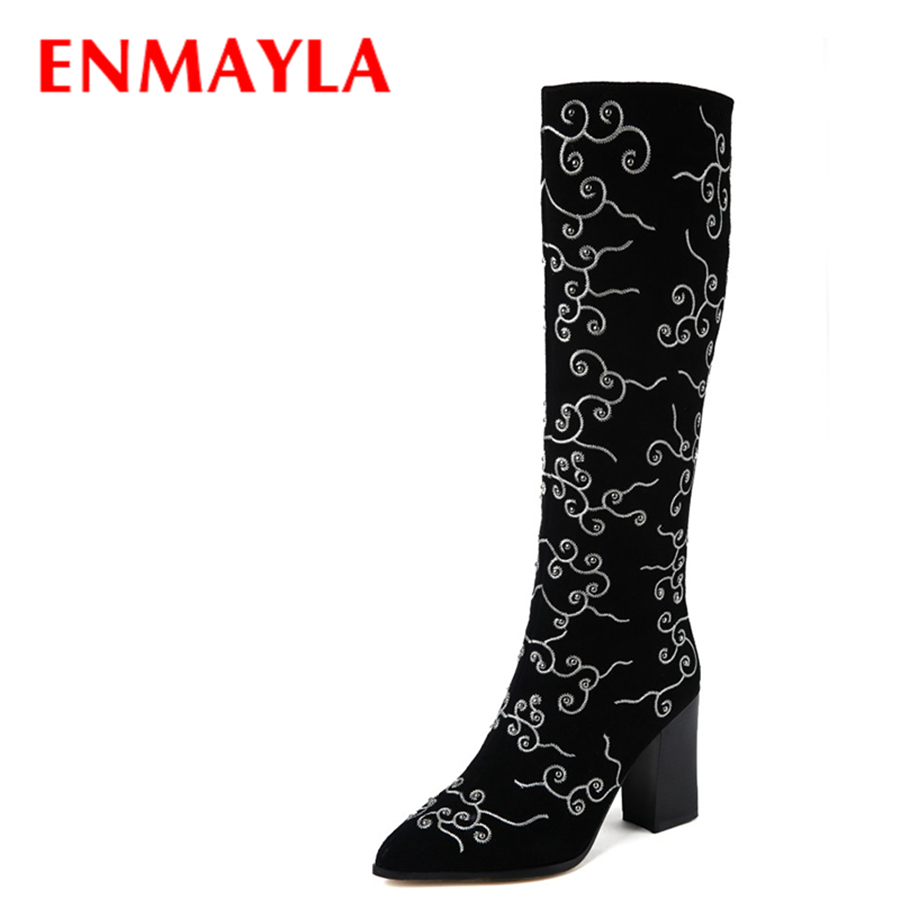 ENMAYLA Winter Womens Black Suede Knee Hight Boots High Heels Shoes Woman Casual Chunky Heels Embroidered Boots enmayla autumn winter chelsea ankle boots for women faux suede square toe high heels shoes woman chunky heels boots khaki black