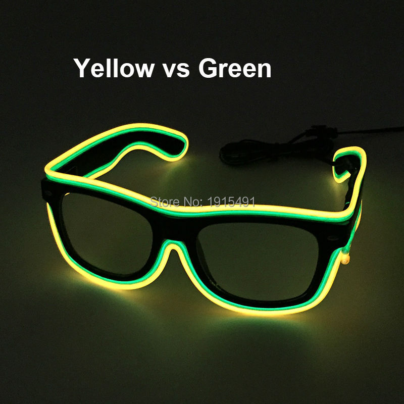 New Design Easter Day decor Blink EL wire Sunglasses Holiday Lighting Neon LED Strip Double Color Combined Glasses for Birthday