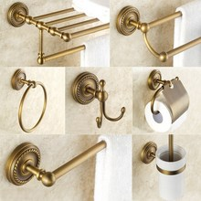 Bathroom Hardware Set Antique Brass Towel Bar,Towel Holder,Toilet Paper Holder Toothbrush Holder Bathroom Accessories  BD644 brass bathroom accessories set chrome toilet brush holder paper holder towel bar towel holder bathroom hardware set