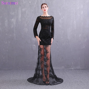 Long Sleeves Evening Dresses Sheer Illussion See Through Lace High Neck Transparent Skirt Sexy Backless Evening Gown Prom Dress