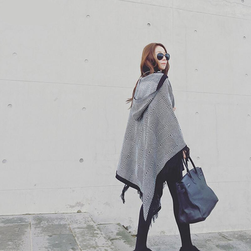 2019 Tassel Poncho Women's Knitted Coat Winter Scarves Fashion Geometric Thick Warm Ponchos And Capes Big Size