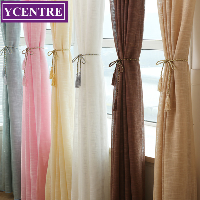 Semi Sheer Curtains For Kitchen Curtain Linen Textured: YCENTRE Solid Colors Faux Linen Style Window Treatment