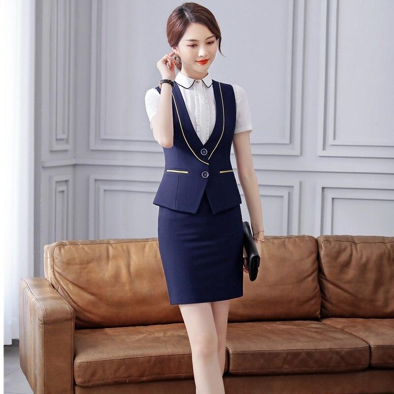 Formal Uniform Styles Ladies Blazers With 2 Piece Sets Tops And Skirt Women Business Vest Coat & Waistcoat Office Work Wear
