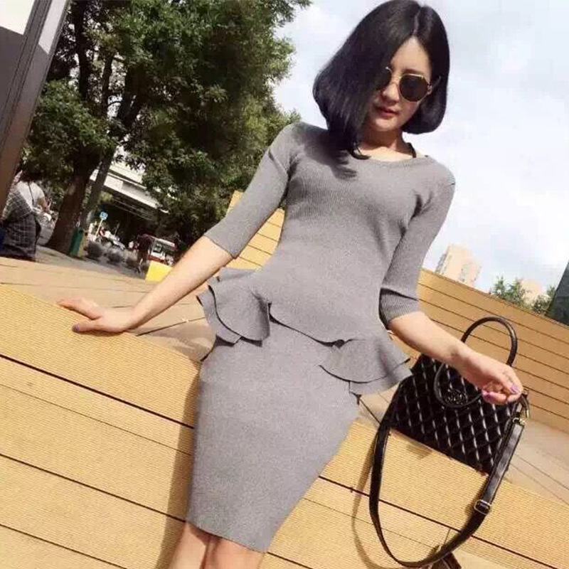 Womens skirt suit Korean long sleeved rabbit hair female ruffles slim waist sweater skirt women s