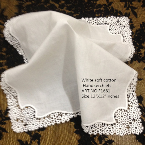 "Set Of 12 Fashion Wedding Bridal Handkerchiefs 12""x12""White Cotton Lace Edging Ladies Hankies Hanky For Wedding Bride"