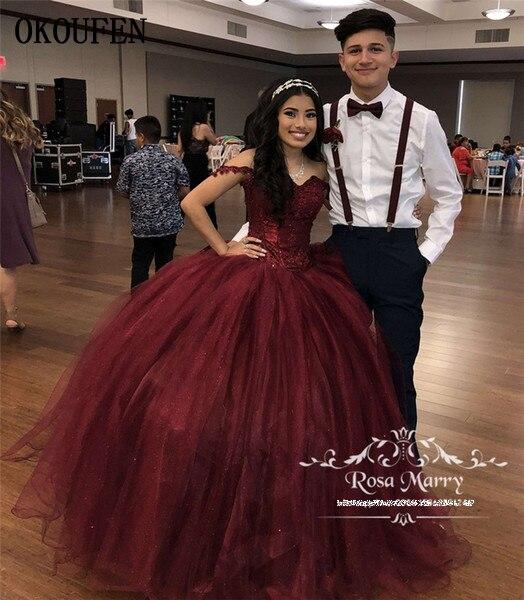 Burgundy Girls Quinceanera Dresses 2019 Off The Shoulder Tulle Sweet 16 Prom Birthday Wear Puffy Vestido De 15 Anos Debutante