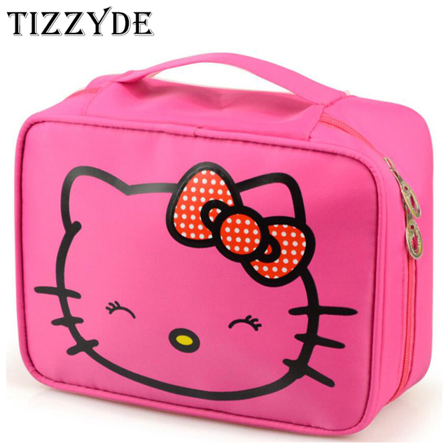 d3b091925f Hello Kitty Woman Cosmetic Bag Large Beauty Waterproof Professional Wash  Necessaire Travel Toiletry Organizer Make up Bags LTS08