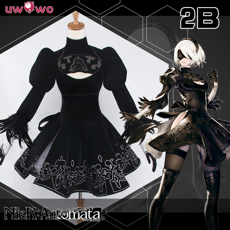 IN STOCK NieR Automata 2B YoRHa No 2 Type B Black Dress Cosplay Uwowo Costume