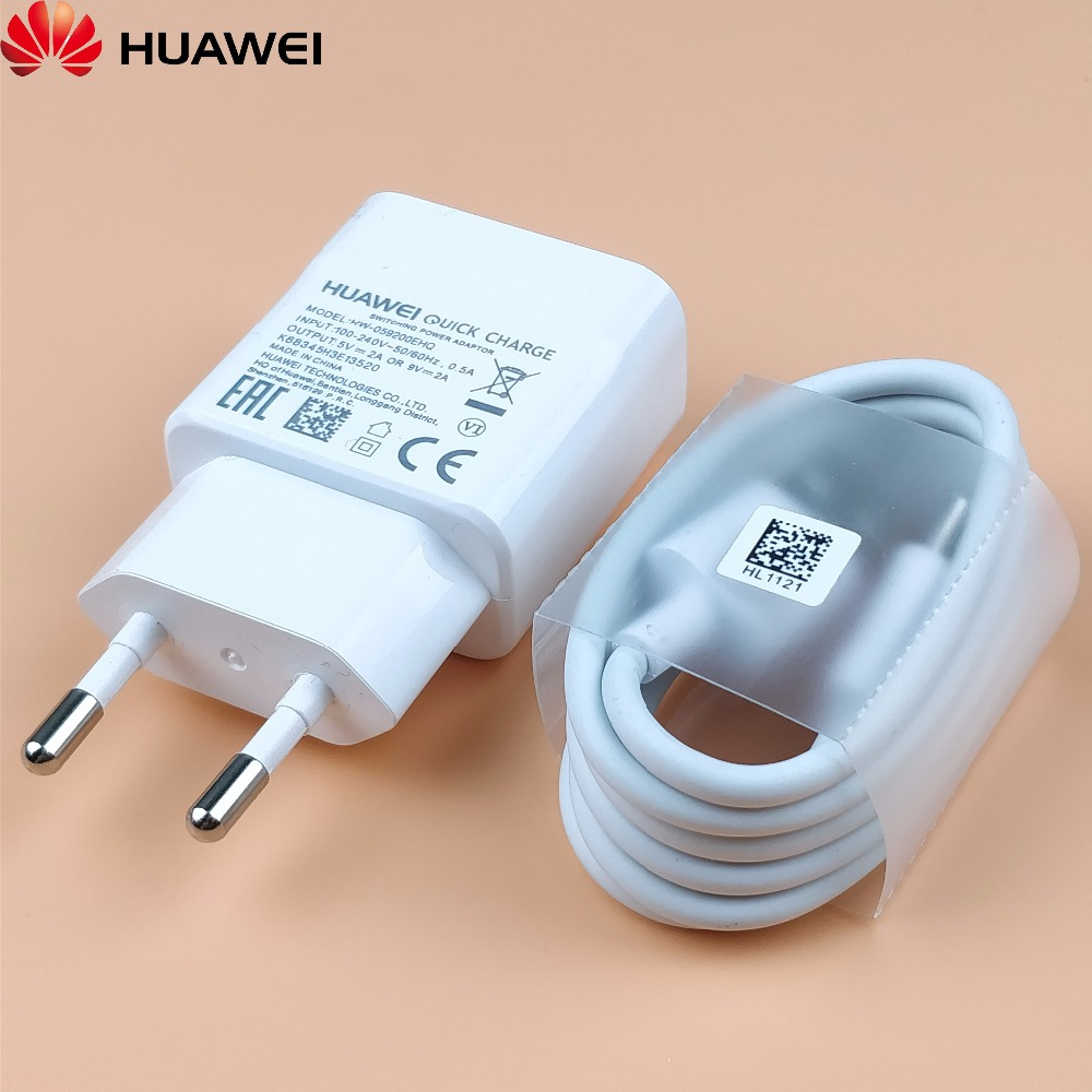 Huawei P20 lite Quick Charger Original 9V/2A EU wall QC2.0 Fast Charge power Adapter & Usb type-c cable For honor 9 p9 phone
