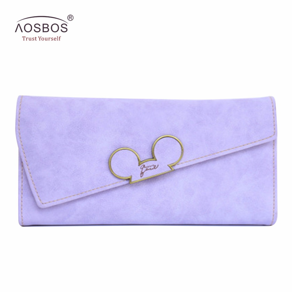 Aosbos Fashion Hot Hit Färg Scrubs Women Wallet Ladies Long Swash-lid Trippel Cartoon Head Purse Slim Phone Coin Pocket Plånbok