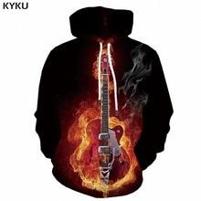 KYKU 3d Hoodies Fire Sweatshirts men Flame Hooded Casual Guitar Hoodie Print Music Printed Metal Sweatshirt Unisex