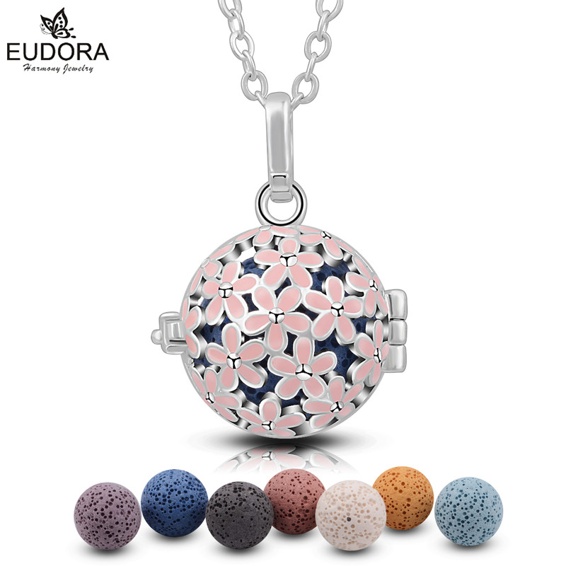 Eudora Pink Flower Harmony 18mm Locket Cage Pendant Women Cherry blossom Aroma Diffuser Locket Necklace with Volcanic Lava Stone цена