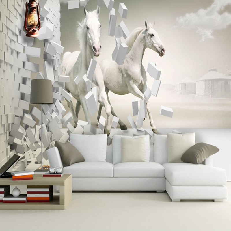 Custom 3D Photo Wallpaper Non-woven 3D White Horse Large Wall Painting Mural Wallpaper Living Room Sofa TV Wall Murals Decal 3D custom photo 3d wallpaper non woven mural the pyramids of egypt decoration painting 3d wall murals wallpaper for living room
