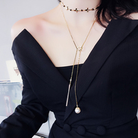 Fashion 2017 New Necklace For Women Trendy Luxury Pendant Simulated Pearl Necklace Long Short Style Necklace