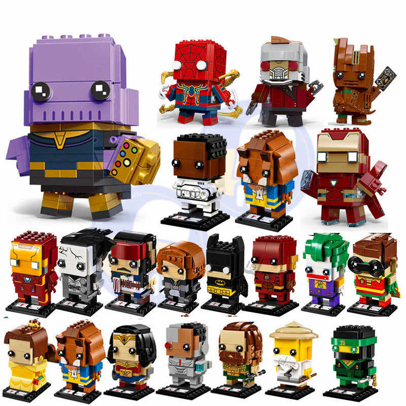 NEW Brickheadz Marvels Avenger Super Heroes Batman iron Man Spiderman Building Block Bricks Toys Compatible with Brickheadz Toys