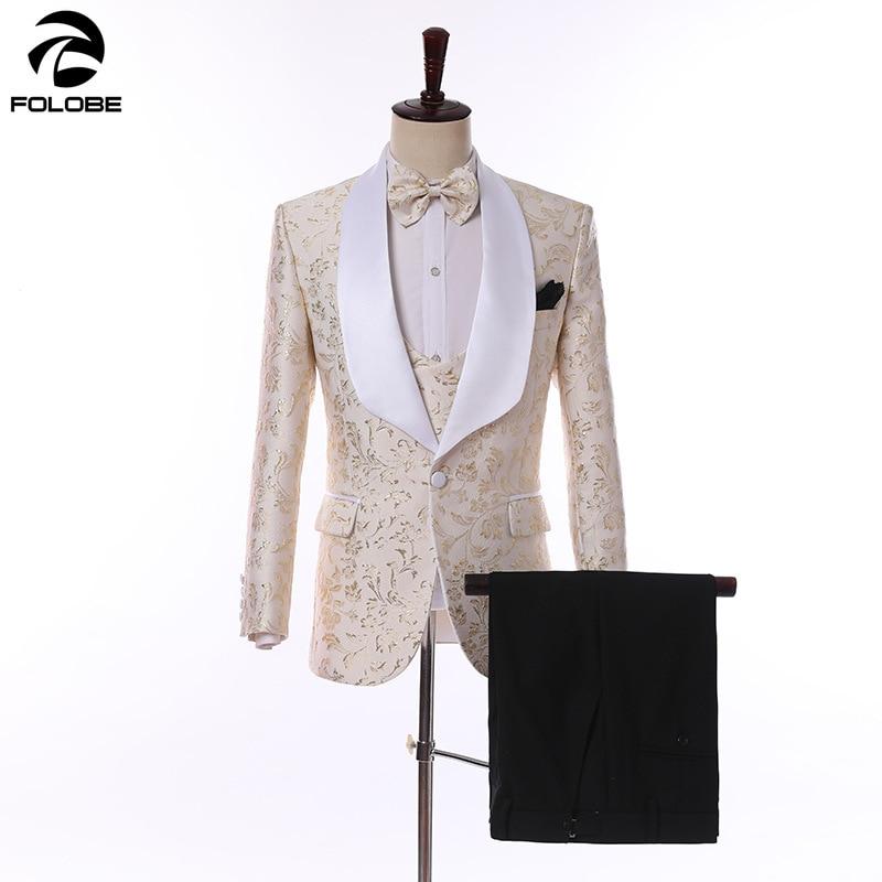 FOLOBE 2019 New Mens Suit Jacket Gilet Trousers Black Champagne Pink Jacquard Party Dress Suits Wedding Tuxedos Suit 3pcs XS-5XL