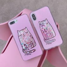 hot deal buy xczj cute cat bling quicksand case for iphone 7 8 6 plus pc+tpu coque iphone 7 flowing liquid cover for iphone x xs xr xs max