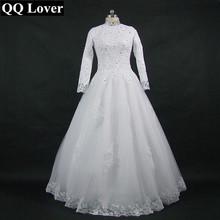 QQ Lover 2017 High Neck Long Sleeve Wedding Dress Lace Sequined Appliques Muslim bridal gowns With Real Pictures