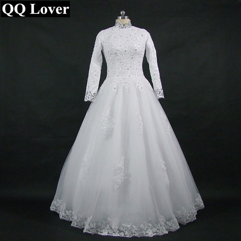 QQ Lover 2019 High Neck Long Sleeve Wedding Dress Lace Sequined Appliques Muslim Bridal Gowns With Real Pictures