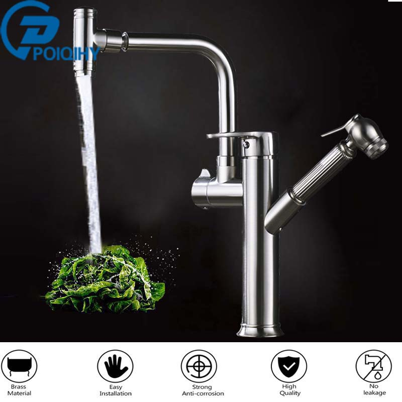 Brass Kitchen Faucet Pull Out Sink Faucets Swivel Brushed Nickel Mixer Cold and Hot Kitchen Tap Single Hole Water Tap torneira black chrome kitchen faucet pull out sink faucets mixer cold and hot kitchen tap single hole water tap torneira