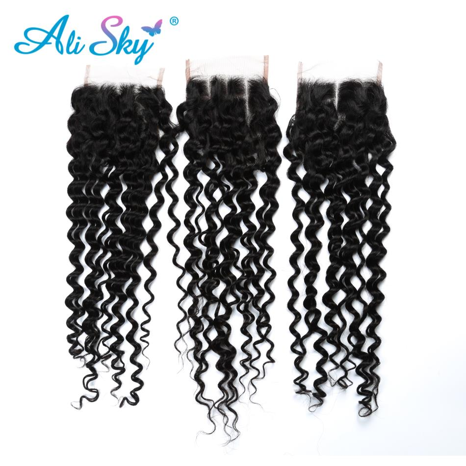 Ali Sky Human Hair Deep Curly Bundles With Closure 4x4 Siwss Lace Closure Mongolian Non-remy Hair Total 4Pcs/Lot no tangle