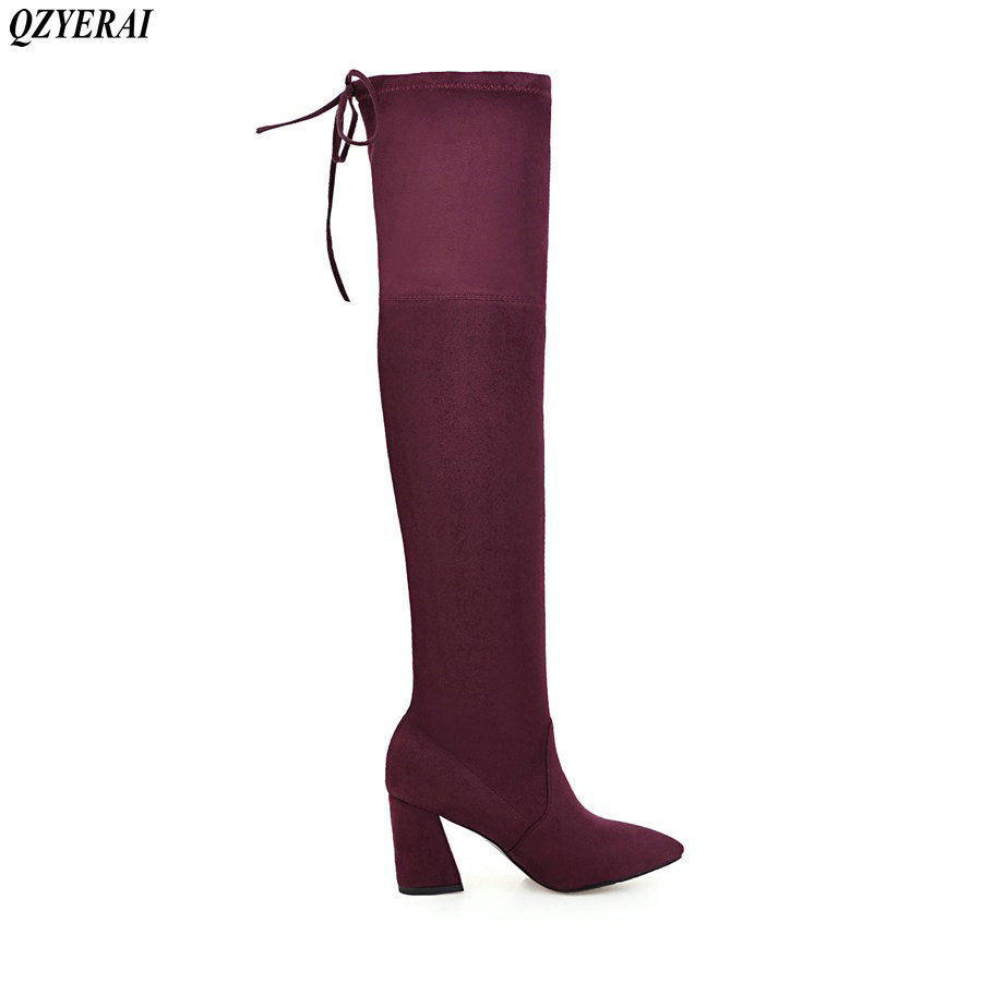 QZYERAI Black Gray Womens Micro Suede Thigh High Boots Block Thick Heel Stretch Over the Knee Boots for Woman Plus Size
