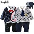 Nuevo bebé mameluco caballero estilo collar del arco mono mameluco recién nacido bebés ropa roupas de bebe 517A