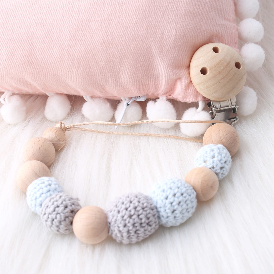 CHEWELRY 1pc Hook Beads Baby Nursing Accessories Beech Wood Jewelry Teething Baby Wooden Sensory Teething Rings Baby Teething