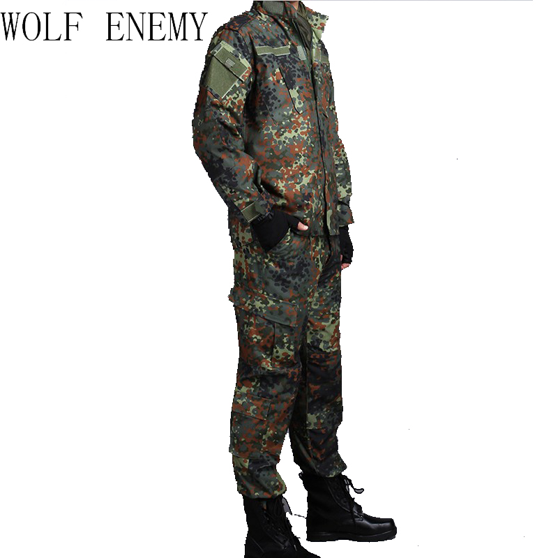 купить GERMAN ARMY WOODLAND CAMO Suit ACU BDU Military Camouflage Suit sets CS Combat Tactical Paintball Uniform Jacket & Pants по цене 4383.12 рублей