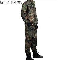 GERMAN ARMY WOODLAND CAMO Suit ACU BDU Military Camouflage Suit sets CS Combat Tactical Paintball Uniform Jacket & Pants