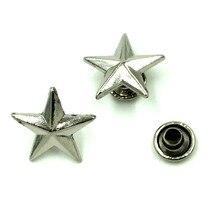500Sets Wholesale Silver Tone Punk Star Pentacle Studs Spots Garment Rivets Spike 13x13mm